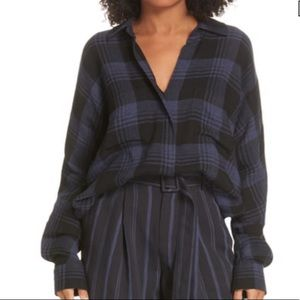 Vince Heathered Plaid Top Blue Size XS